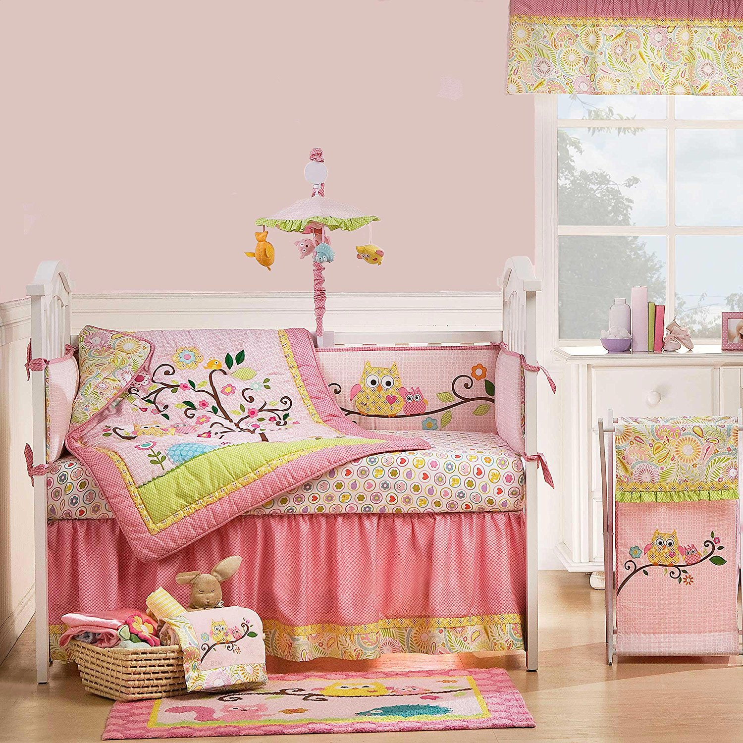 Image of: Owl Baby Quilt Pink