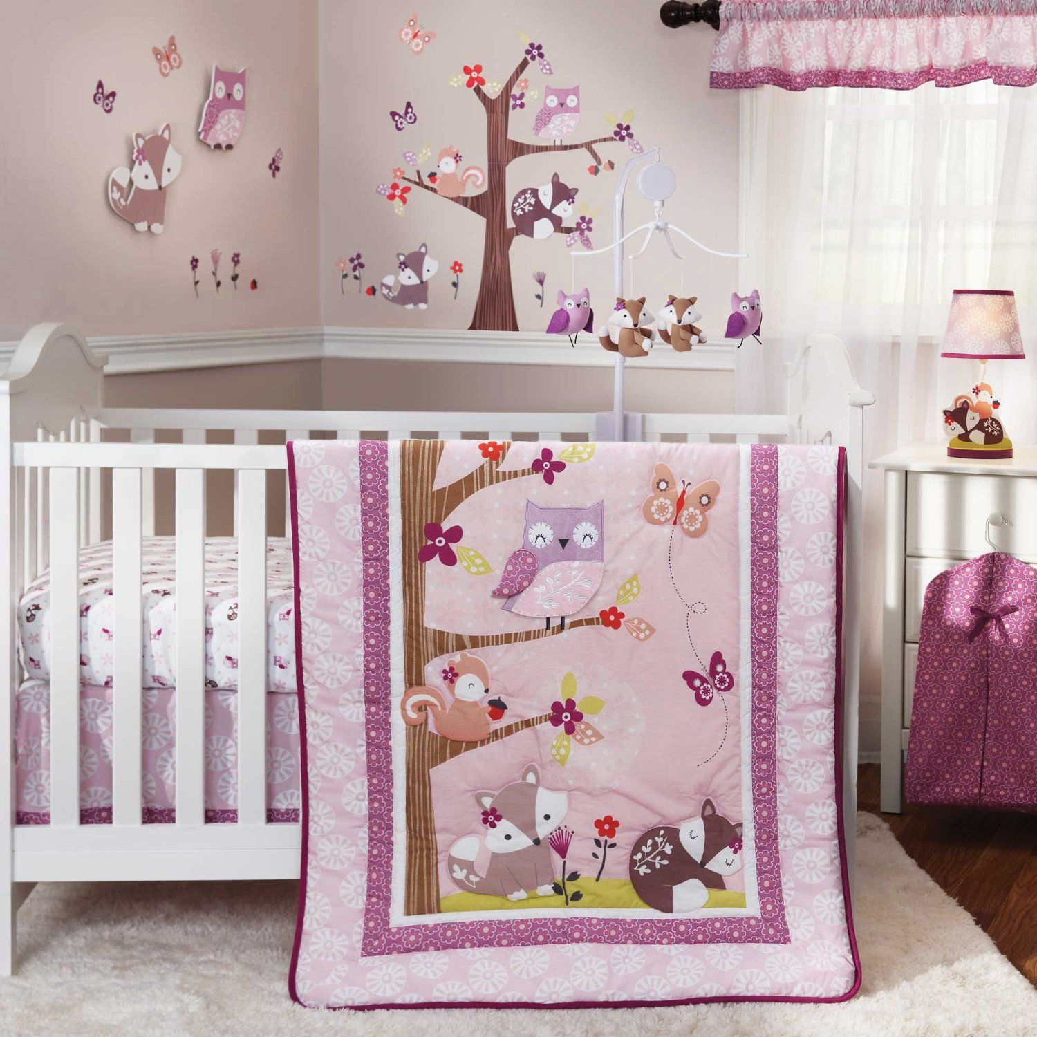 Image of: Owl Baby Quilt Purple