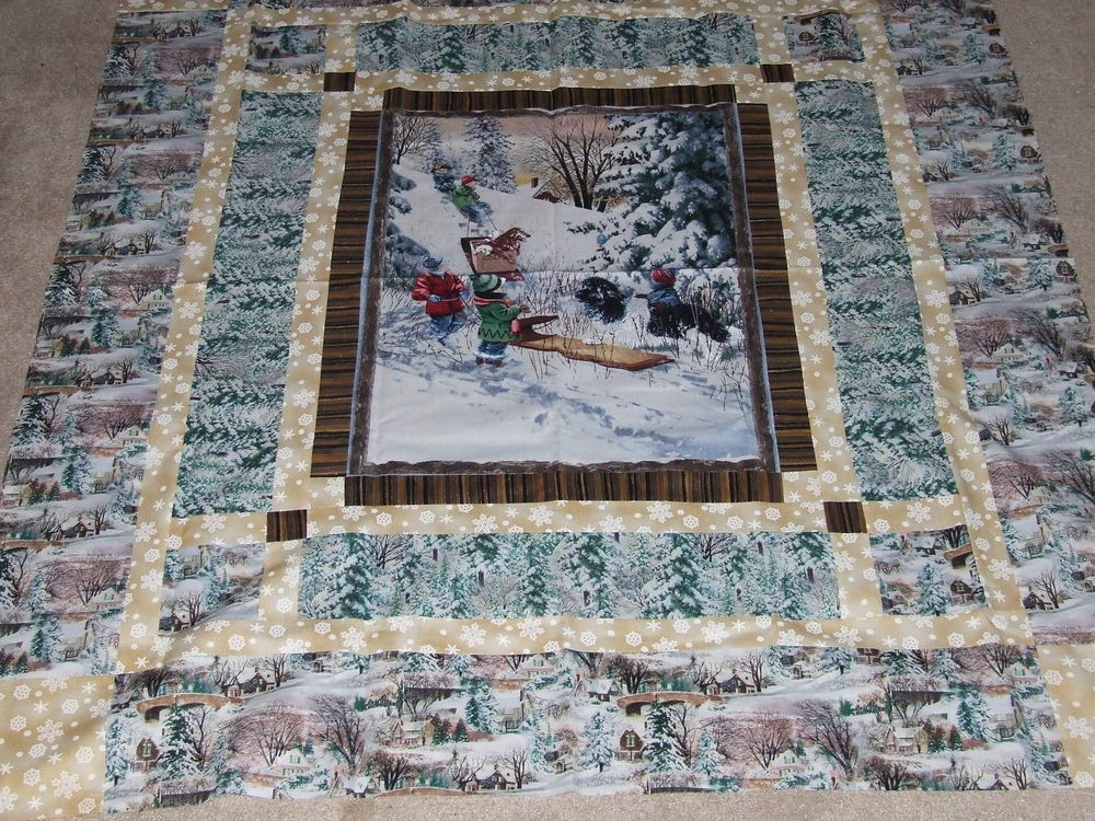 Image of: Panel Quilt Patterns Large