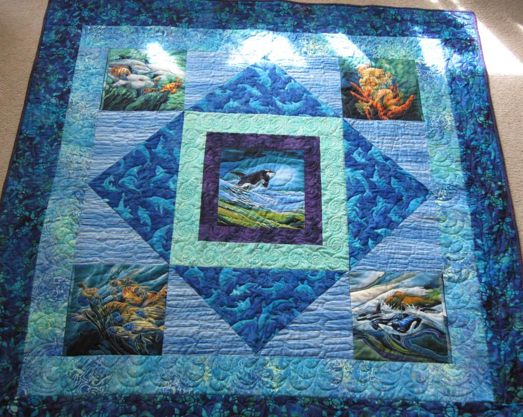 Image of: Panel Quilt Patterns Ocean