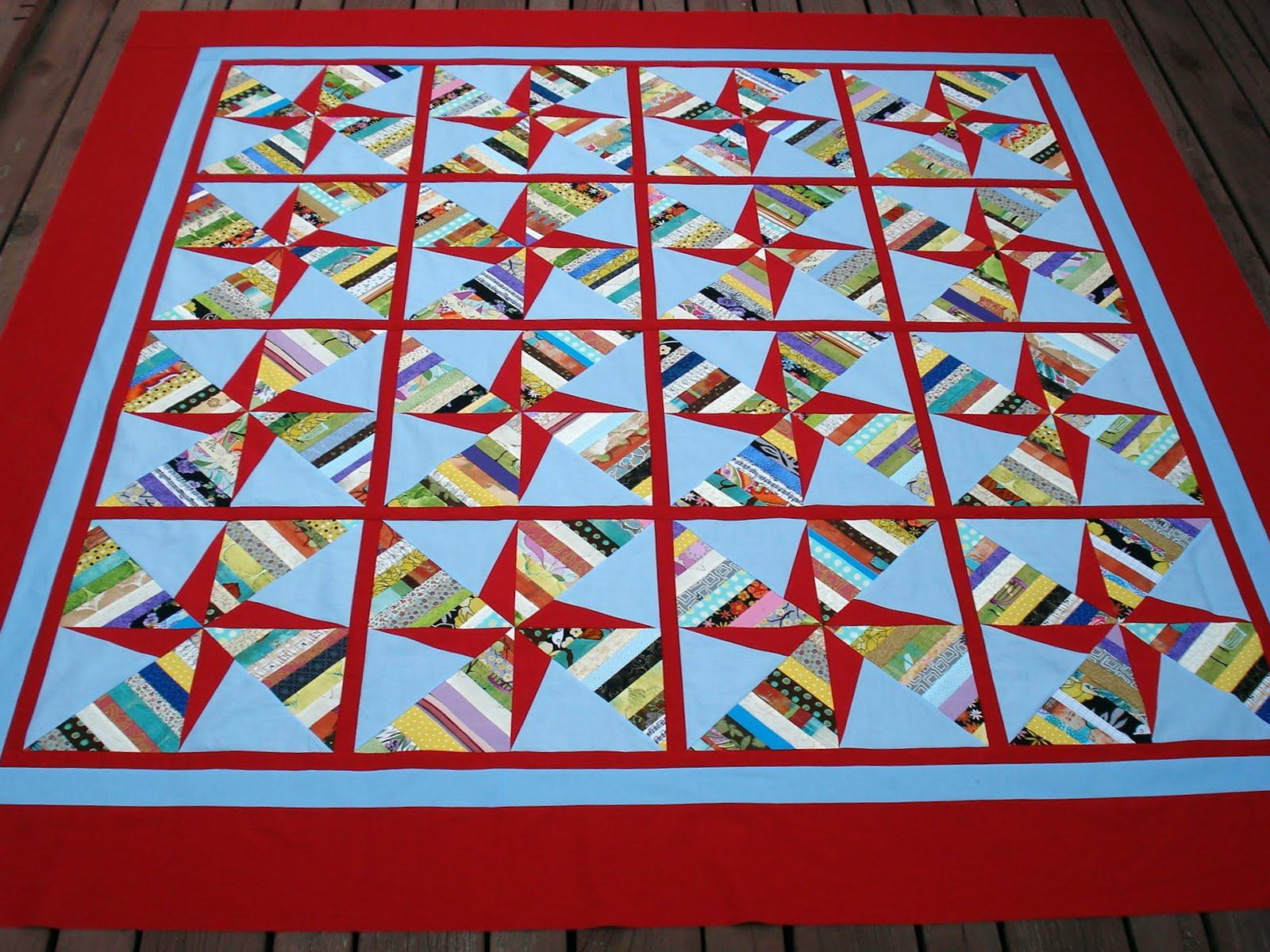 Image of: Pinwheel Quilt Pattern Red