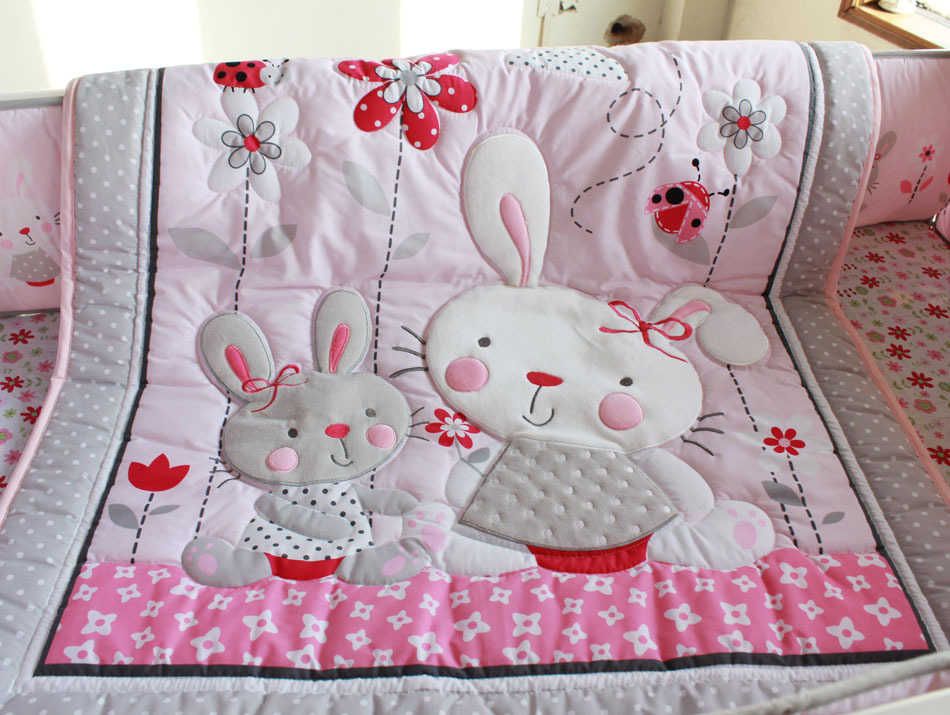 Image of: Rabit Baby Girl Quilt Kits