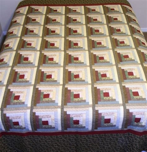 Image of: Square Log Cabin Quilt Pattern