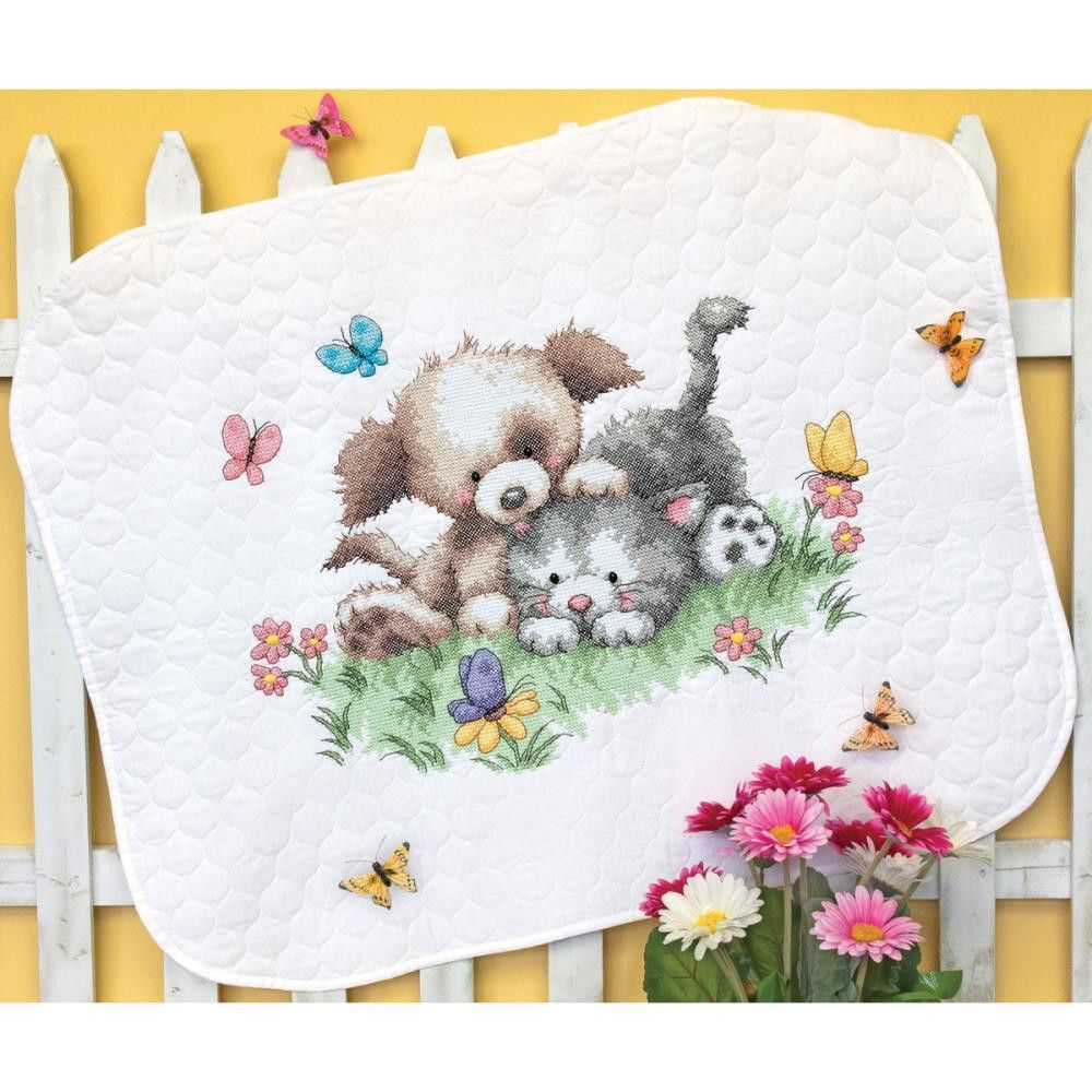 Image of: Stamped Cross Stitch Baby Quilt Kits