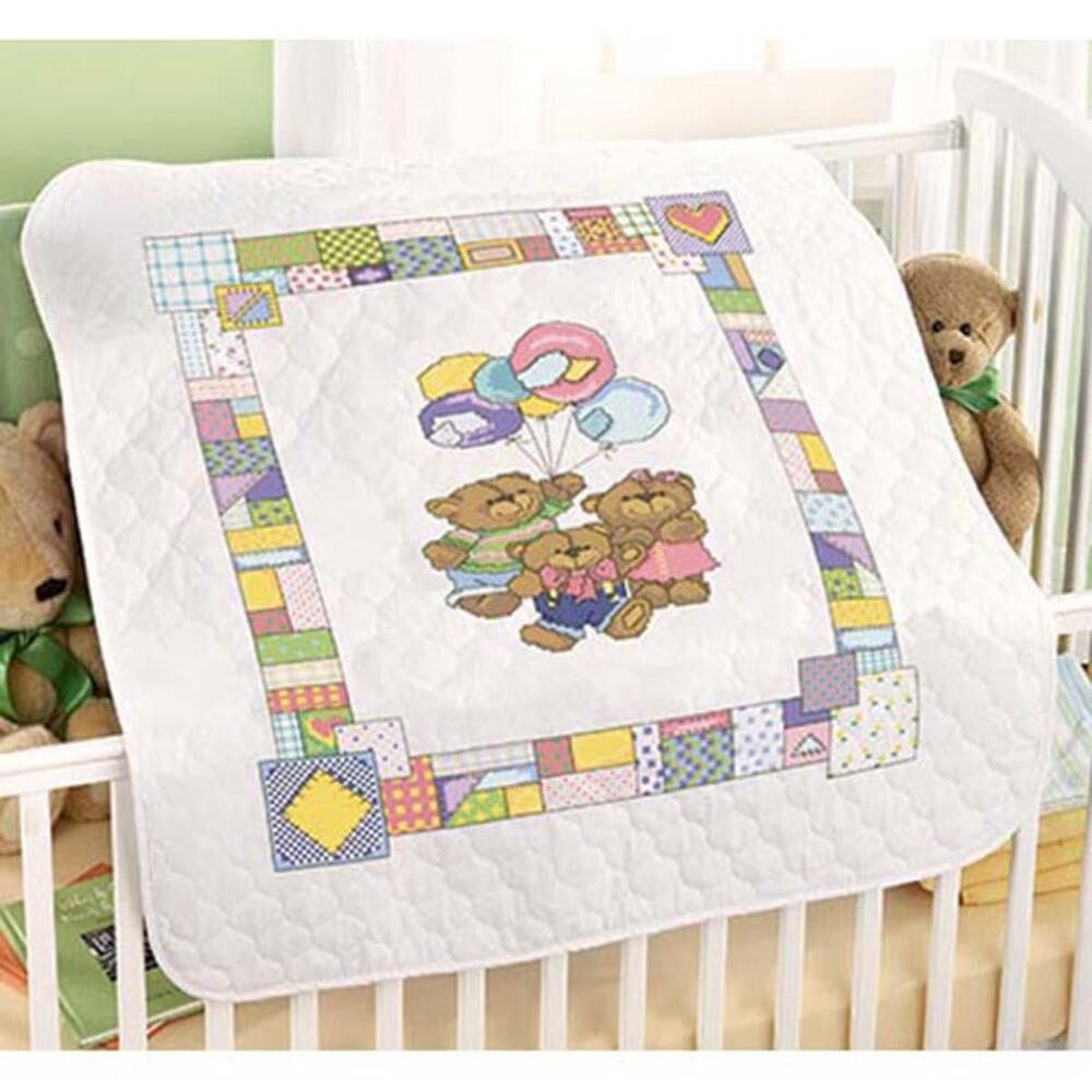 Image of: Teddies Cross Stitch Baby Quilt Kits