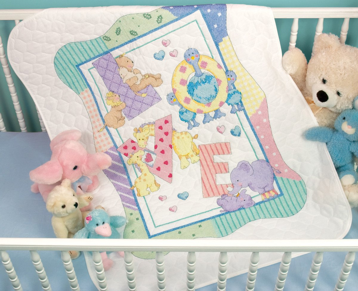 Image of: Zoo Alphabet Cross Stitch Baby Quilt Kits