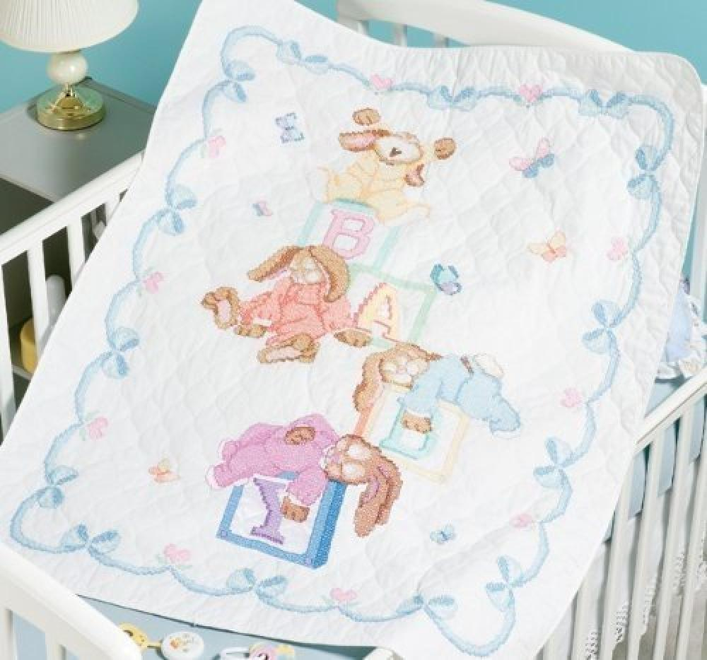 Image of: Zoo And Alphabet Cross Stitch Baby Quilts