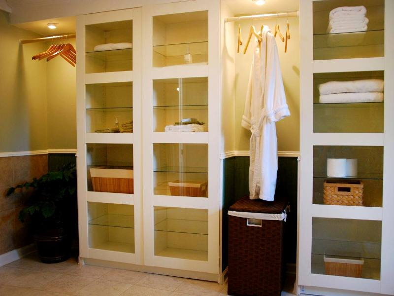 Image of: Glass Door Linen Armoire