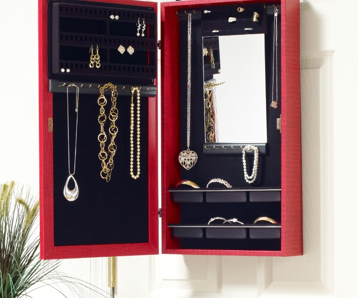 Image of: Red Glass Door Jewelry Armoire