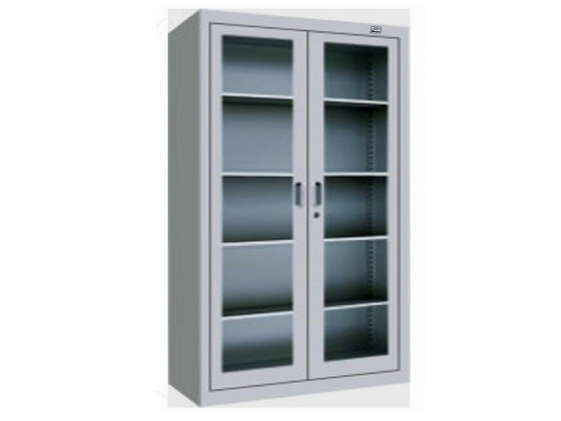 Image of: Two Door Metal Armoire Glass Door