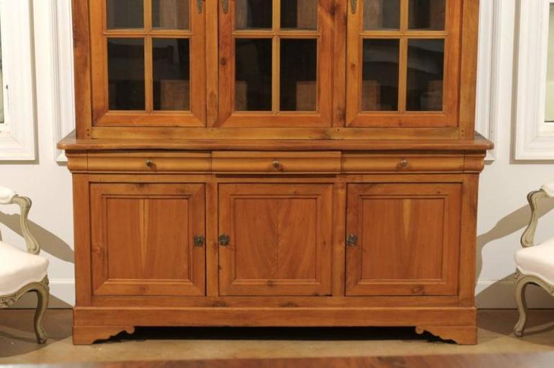 Wooden Glass Door Armoire Cherry Mahogany