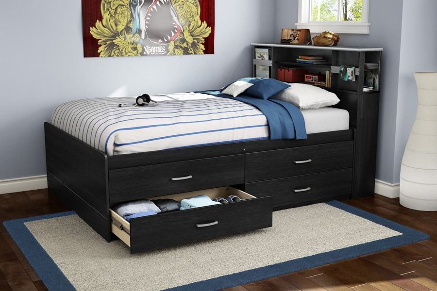 Image of: Awesome Full Size Captains Bed With Storage