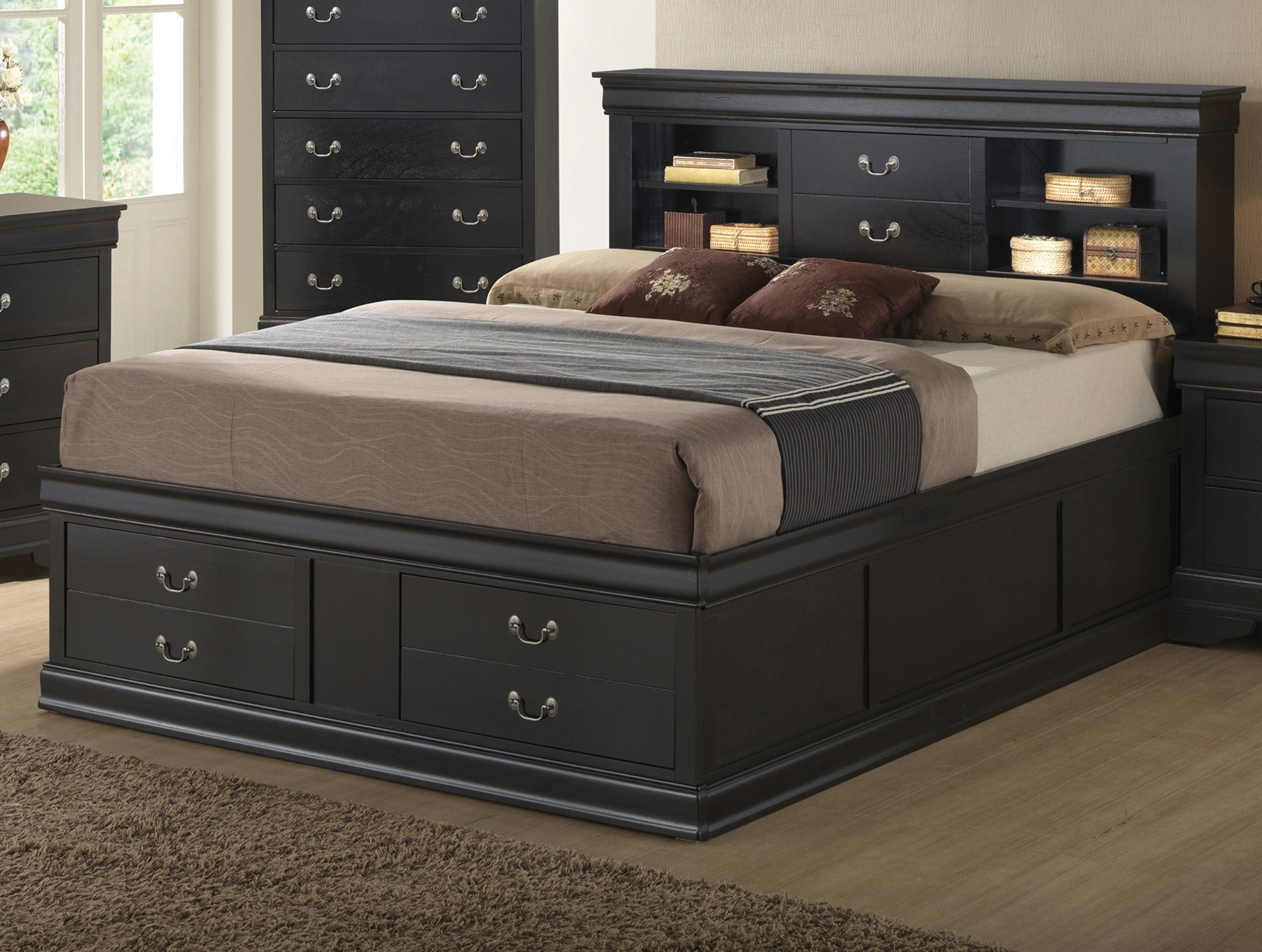 Image of: Bed With Headboard Storage Black