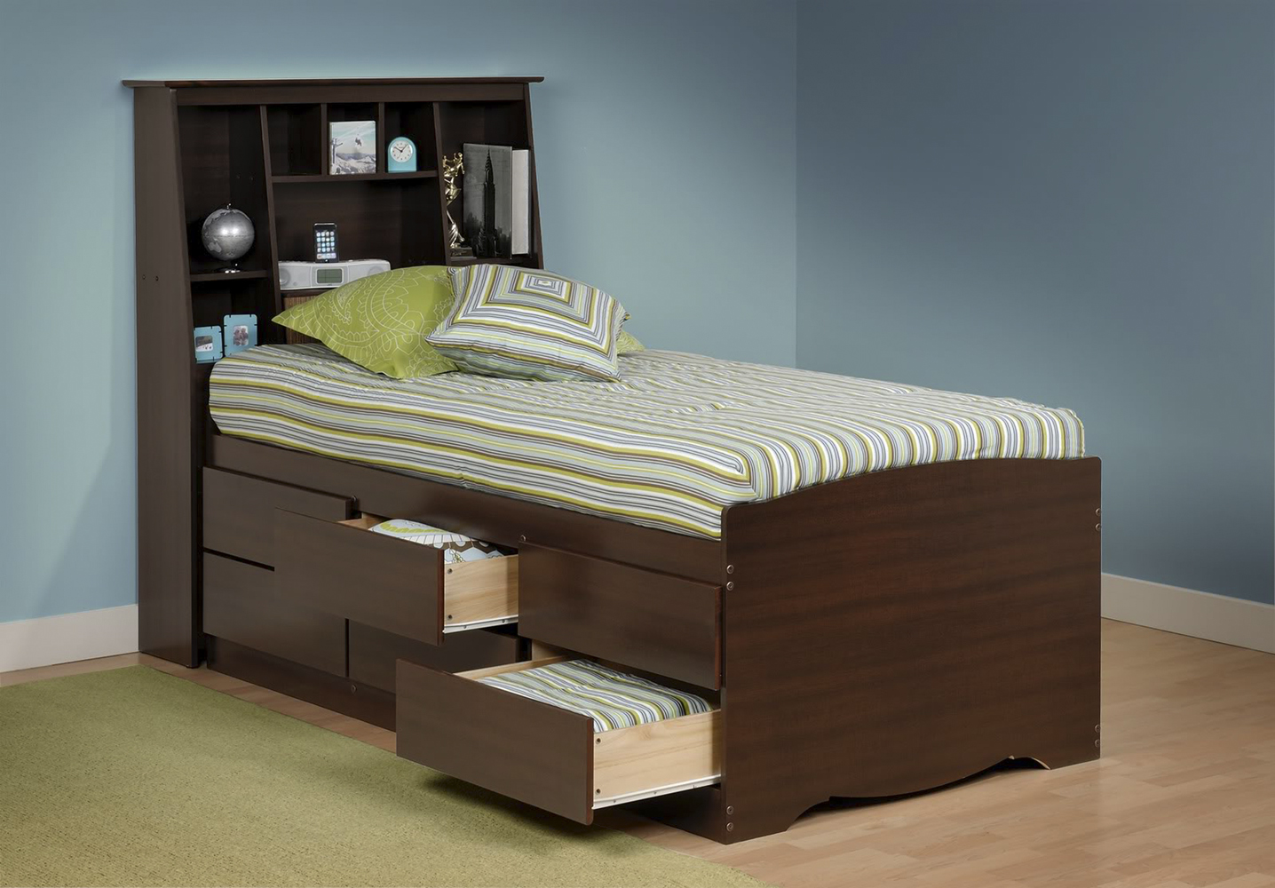 Image of: Bed With Headboard Storage Tall