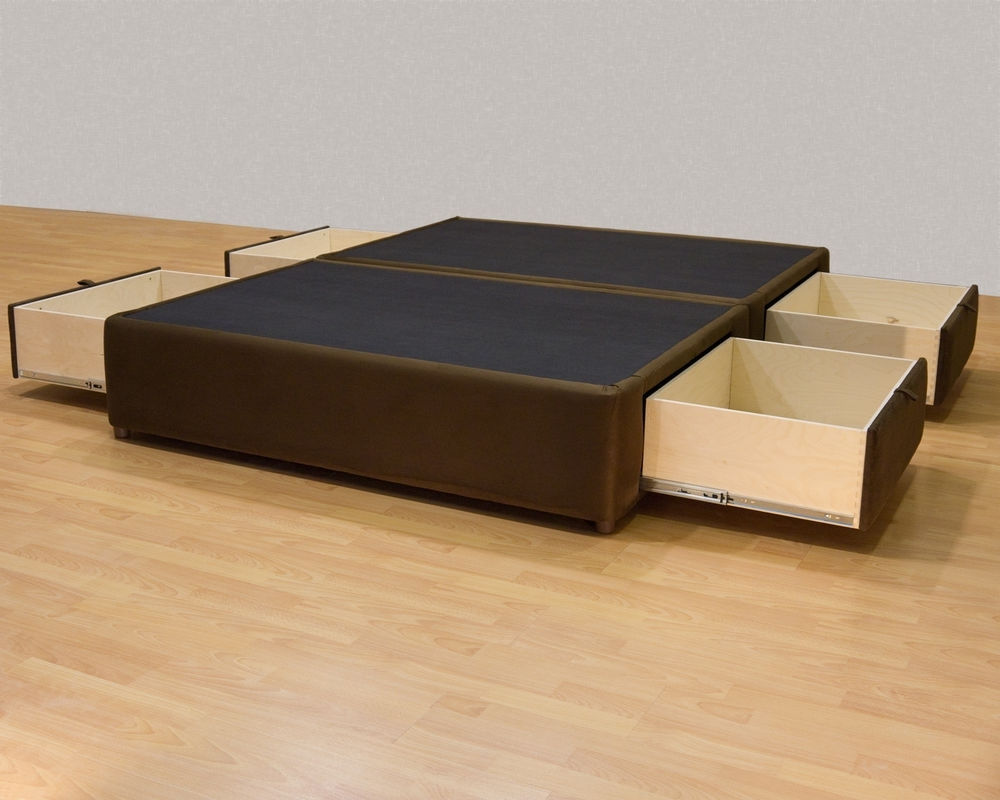 Image of: Black DIY Queen Bed Frame with Storage