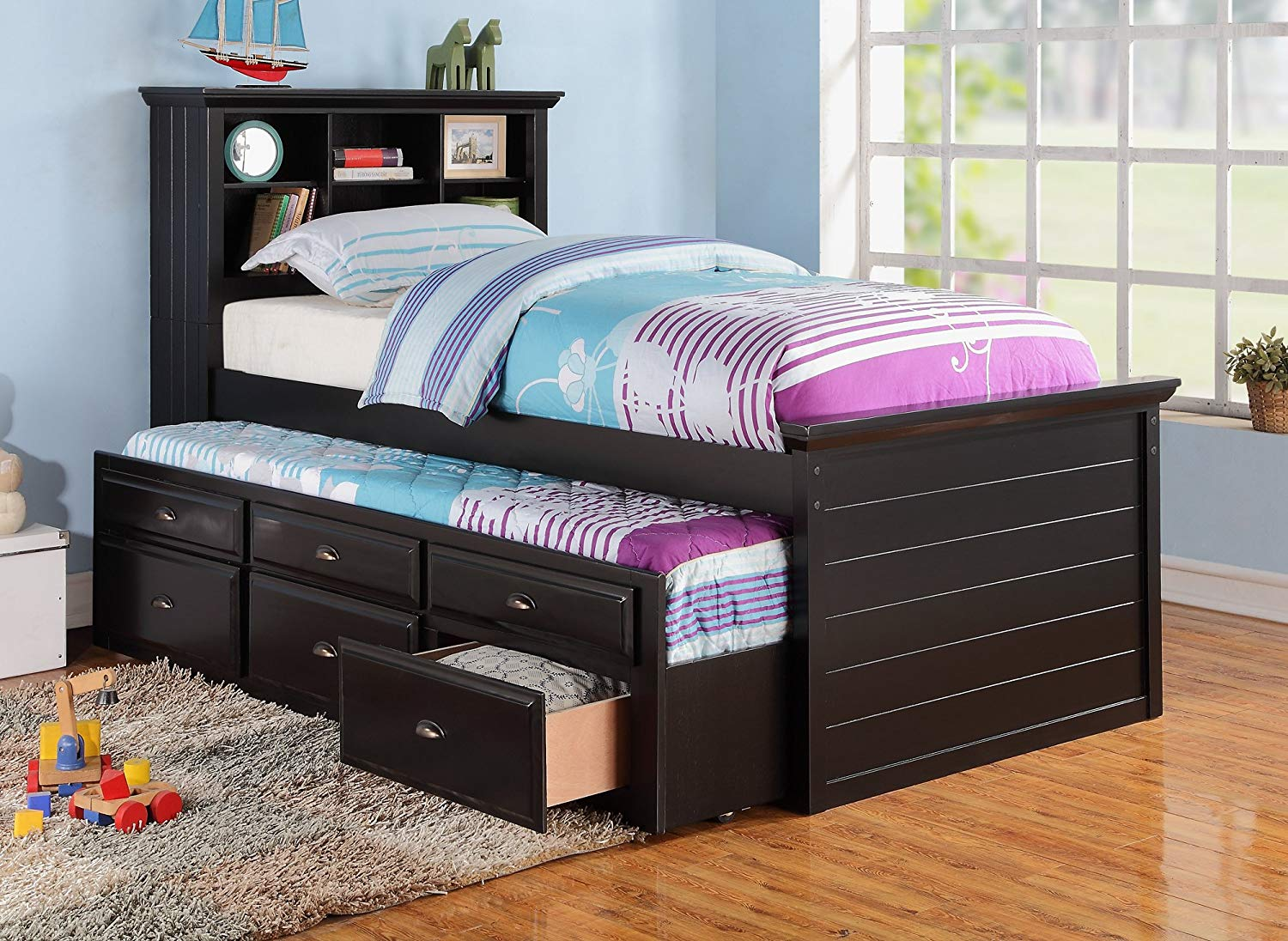 Picture of: Black Twin Bed With Trundle And Storage