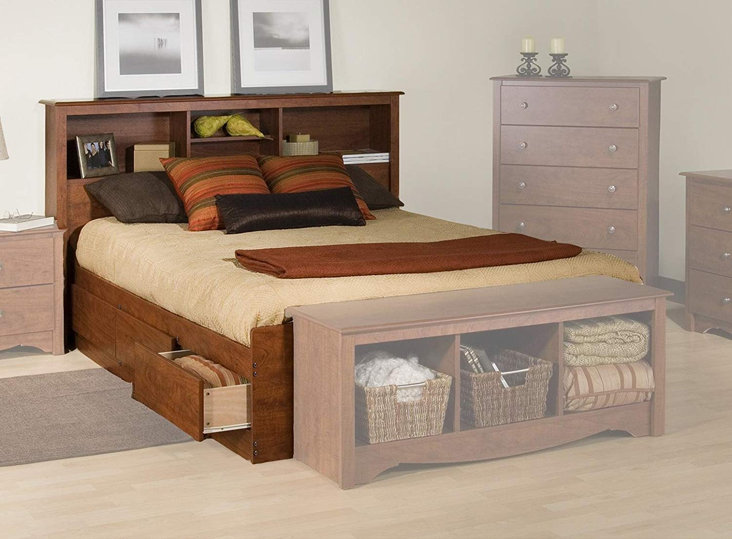 Image of: Bookcase Storage Bed Sliding Door