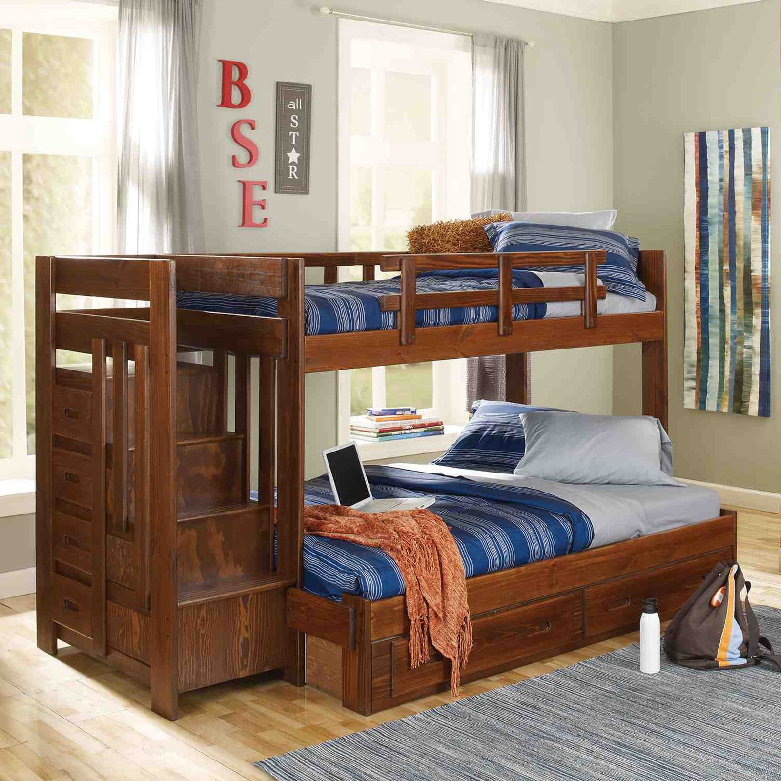 Picture of: Boys Twin over Full Bunk Bed with Storage