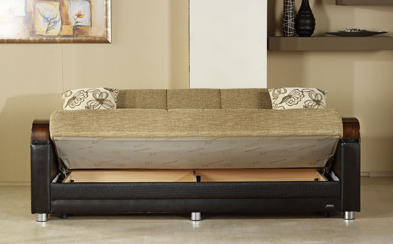 Image of: Brown Convertible Sofa Bed with Storage