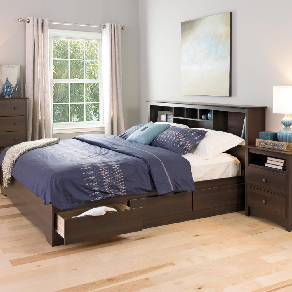 Image of: Brown Storage Bed Plans