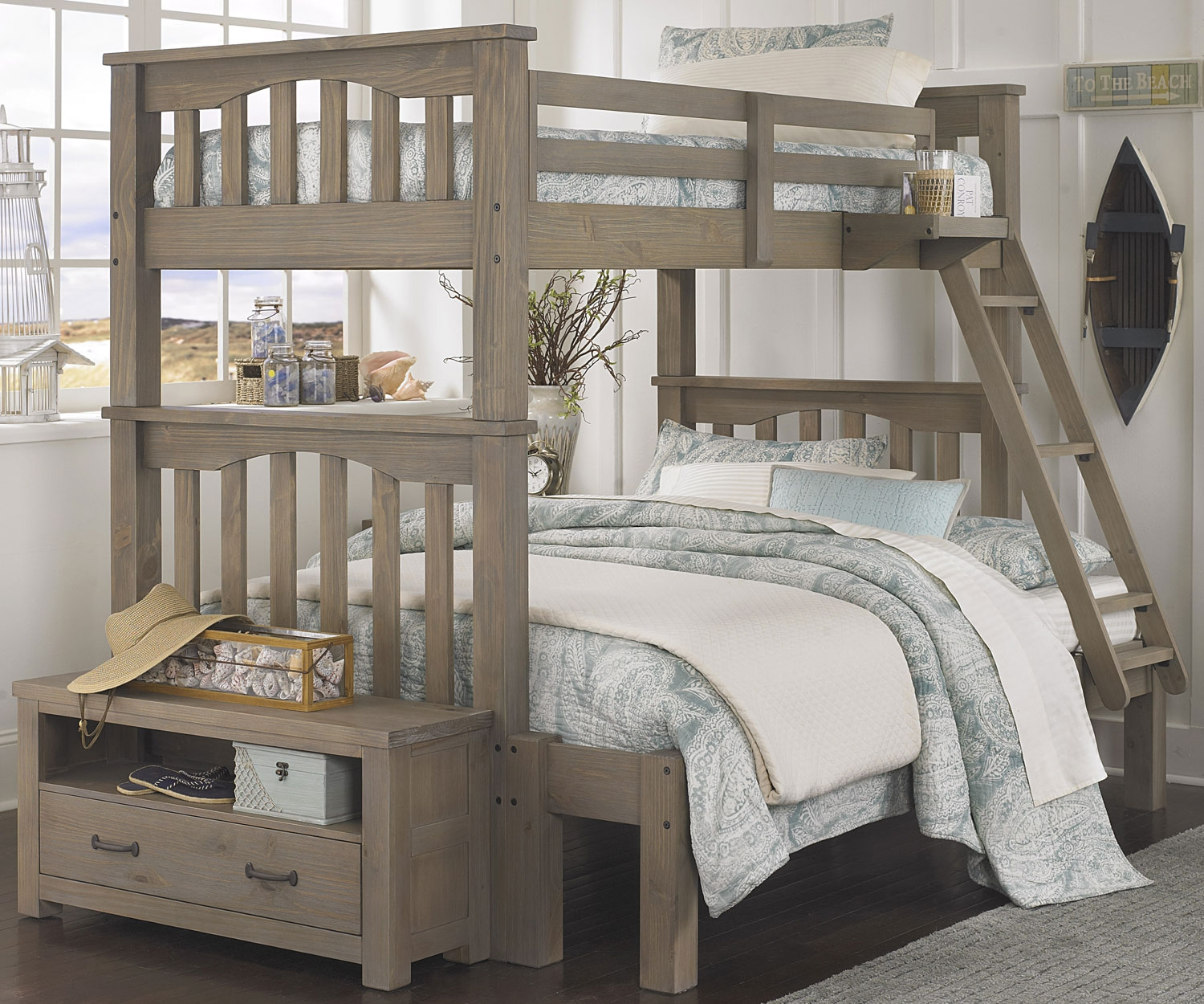 Picture of: Brown Twin over Twin Bunk Beds with Storage