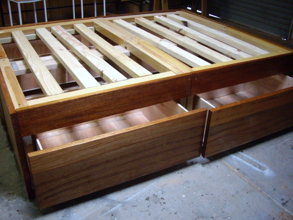 Image of: Build DIY Bed Frame with Storage