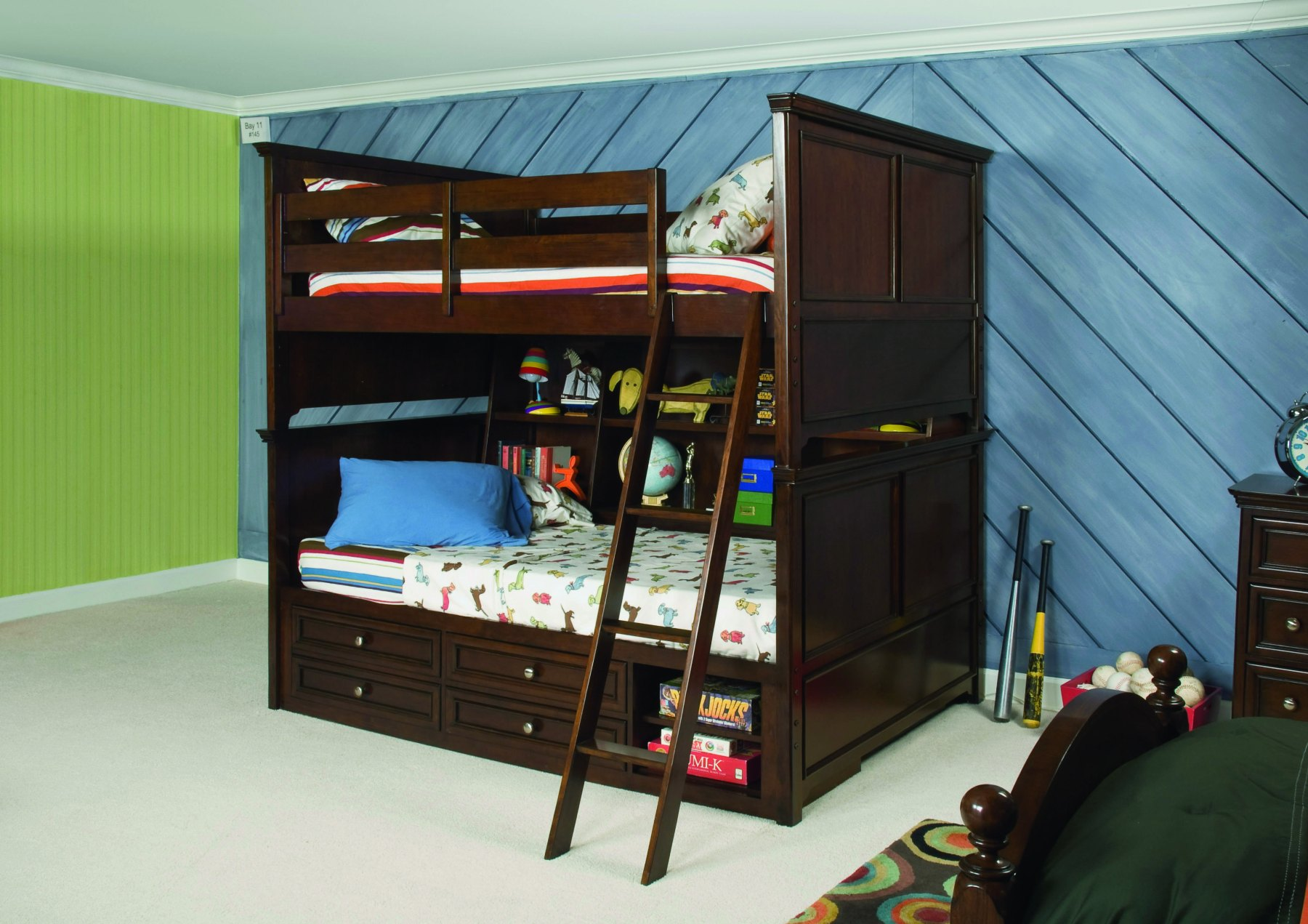 Image of: Bunk Beds Twin Over Full With Storage Dark
