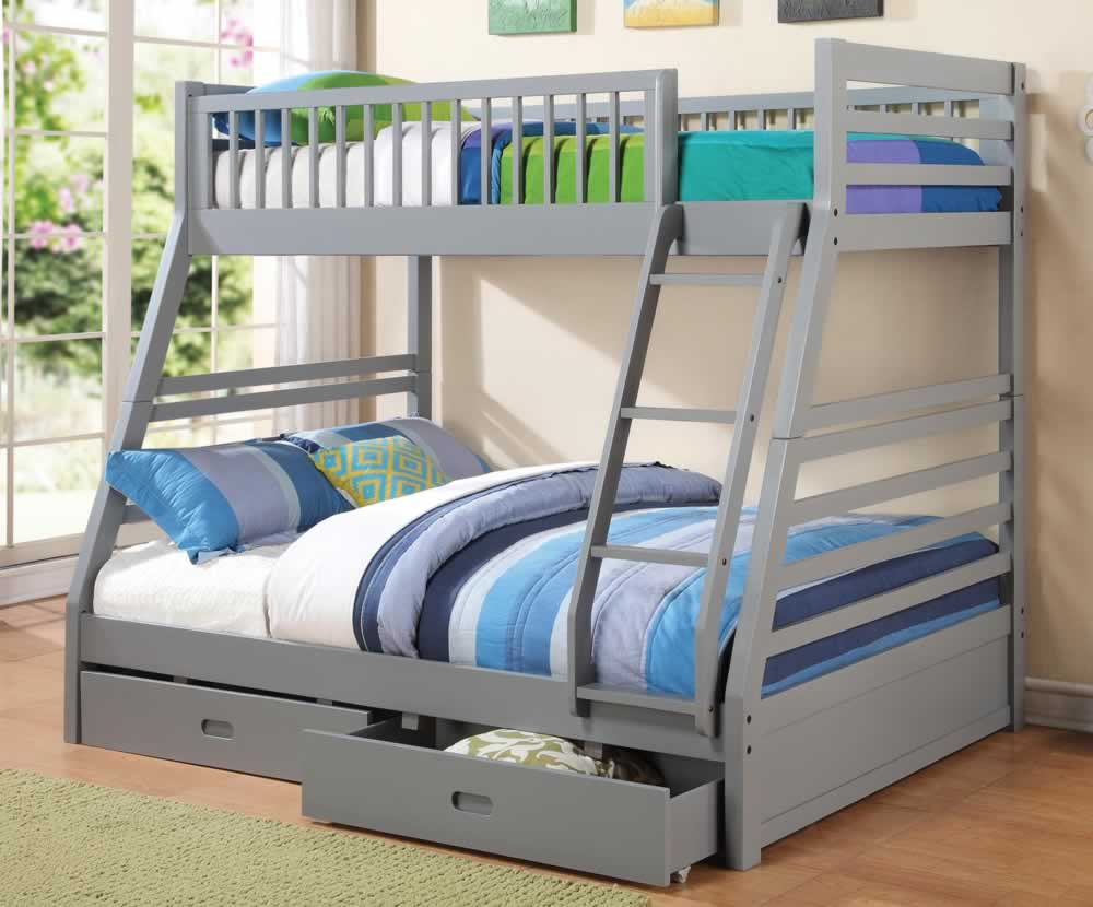 Bunk Beds Twin Over Full With Storage Gray