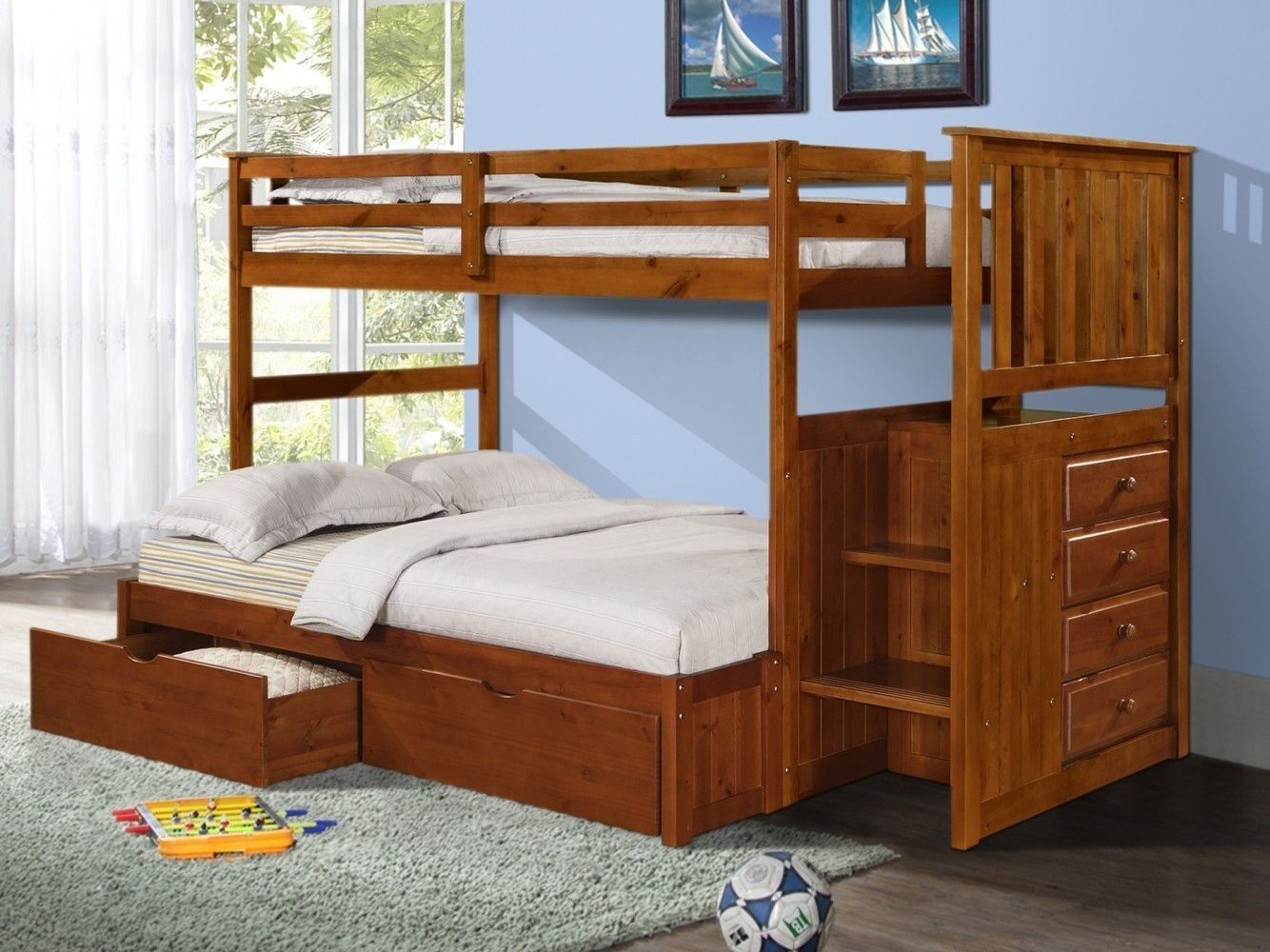 Image of: Bunk Beds Twin Over Full With Storage Simple