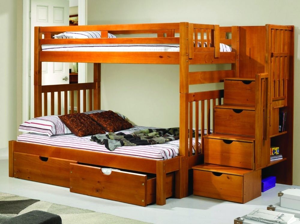 Image of: Bunk Beds Twin Over Full With Storage Style