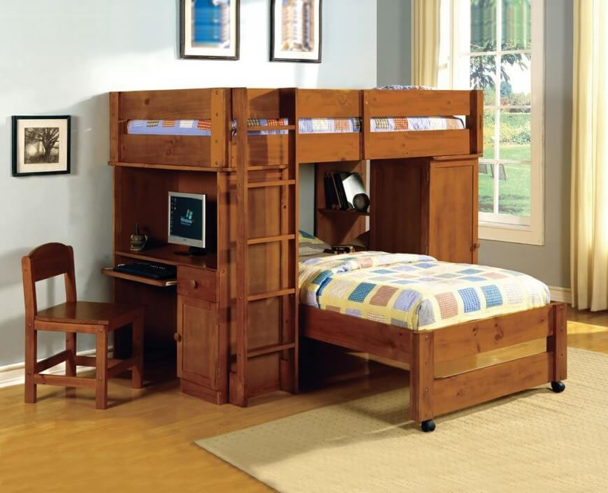 Picture of: Bunk Beds With Storage and Desk Wood