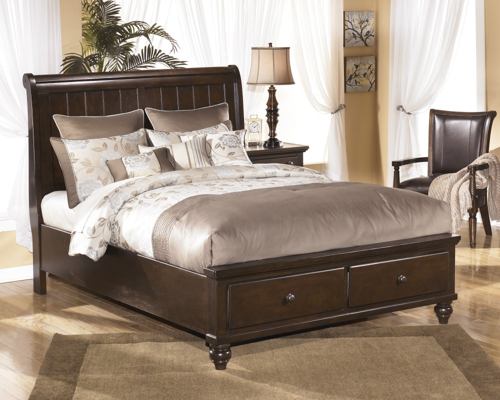 Image of: California King Storage Bed with Drawers