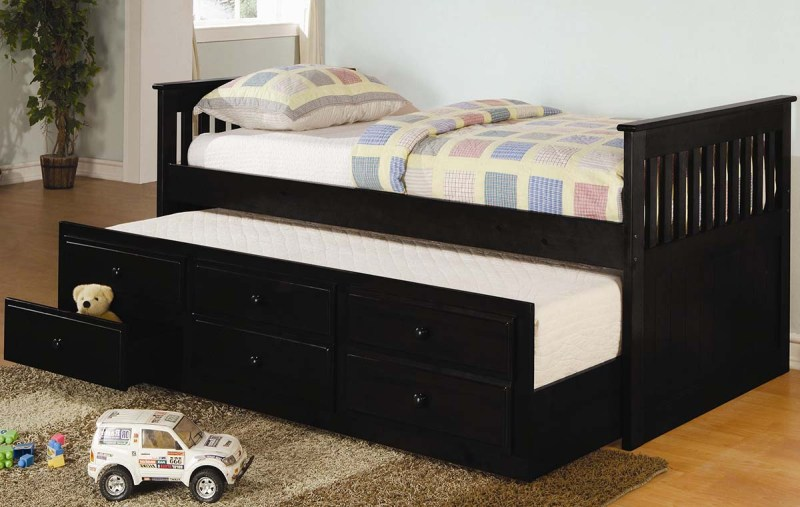 Image of: Captains Bed With Trundle And Storage Drawers