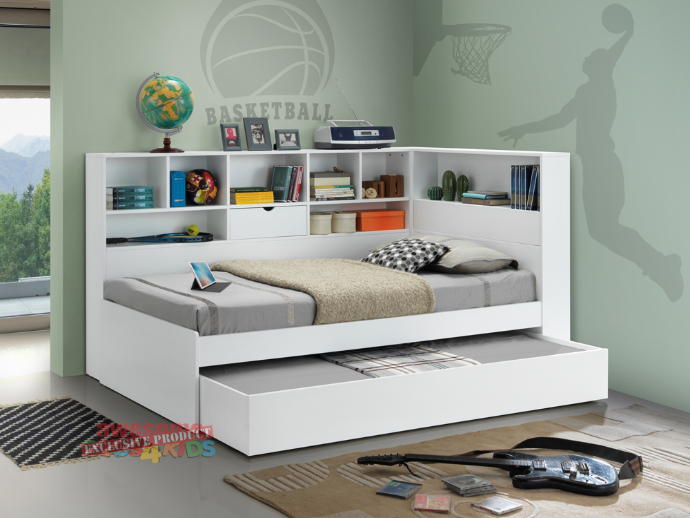 Picture of: Chic Twin Bed With Trundle And Storage