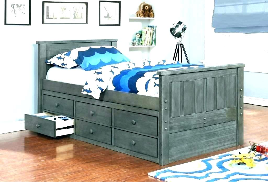 Picture of: Colored Twin Captains Bed With Storage