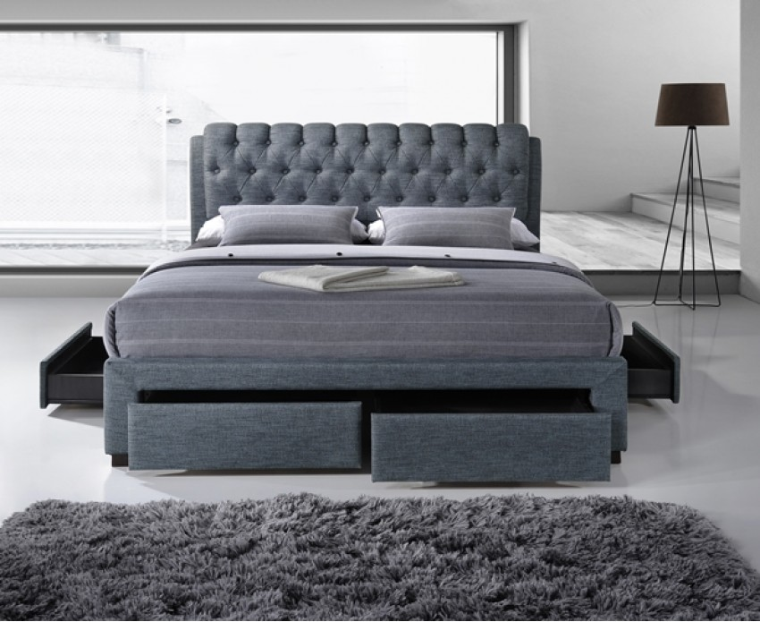 Picture of: Custom Grey Storage Bed