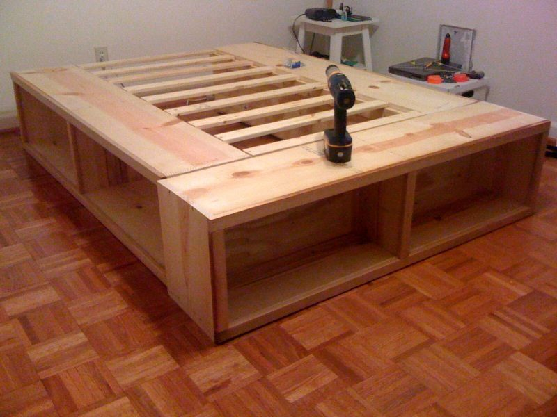 Picture of: DIY Bed Frame with Storage DIY