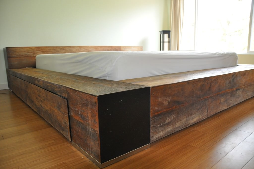 Image of: DIY Bed Frame with Storage Full Size