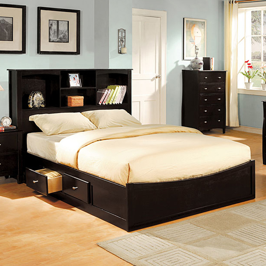 Image of: DIY Platform Bed with Storage Black