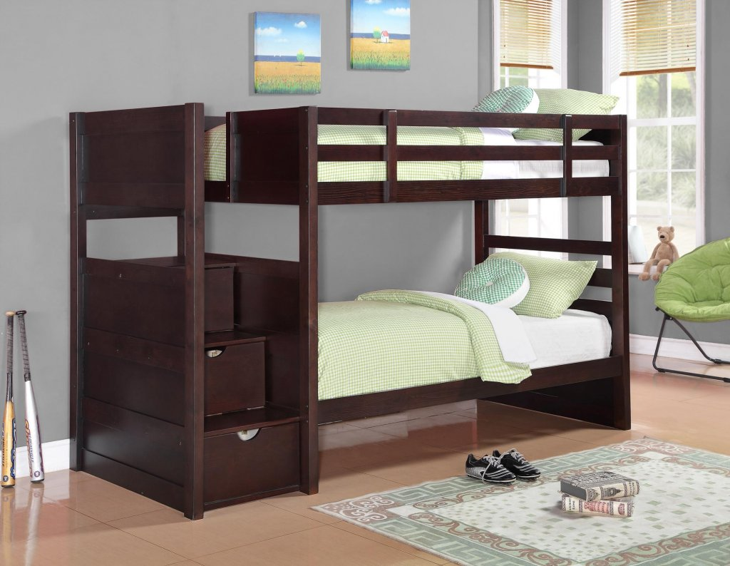 Image of: Dark Bunk Bed with Storage Stairs