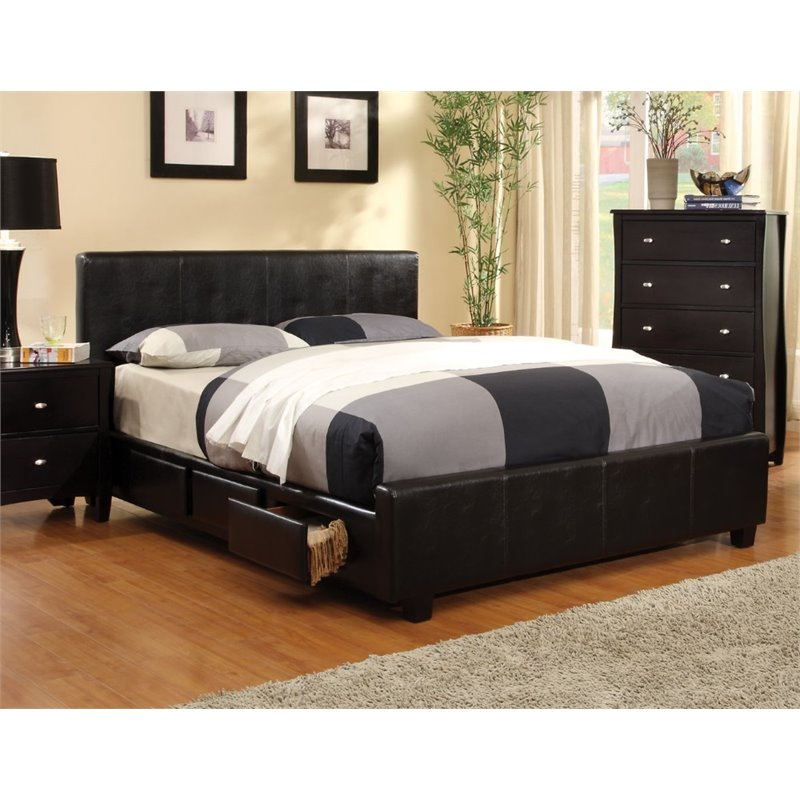 Dark Cal King Storage Bed