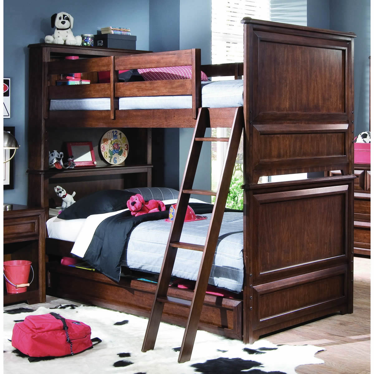 Image of: Dark Twin Bunk Beds With Storage