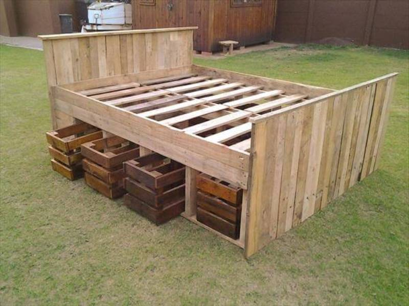 Picture of: Diy Pallet Bed Frame With Storage Instructions