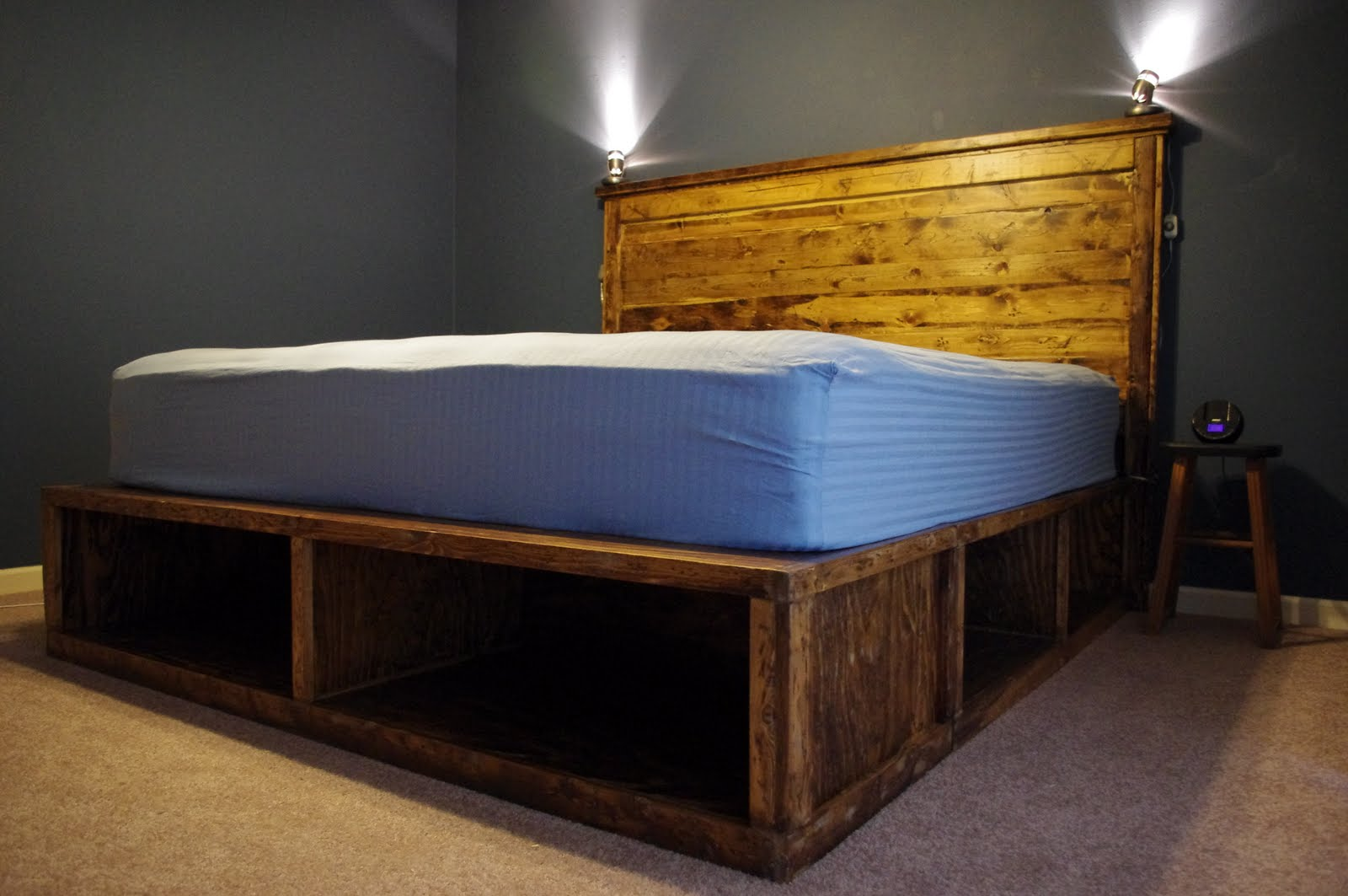 Image of: Diy Twin Bed Frame With Storage Large