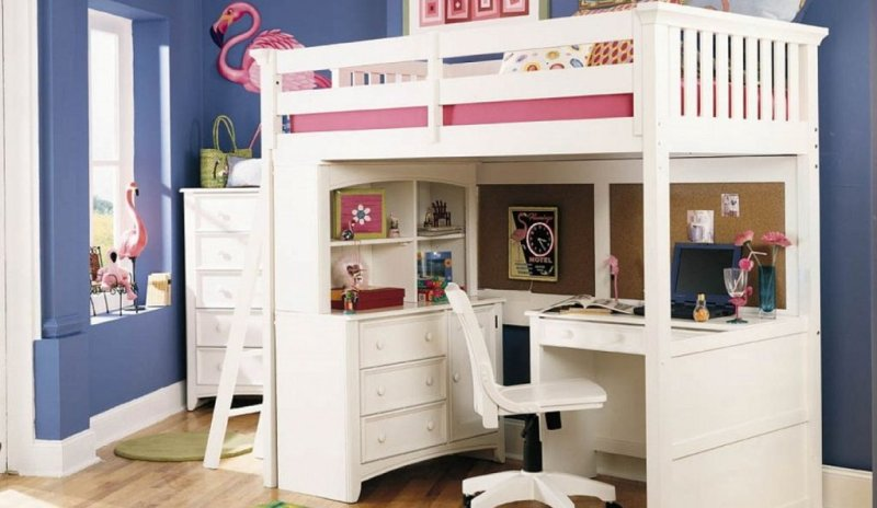 Donco Low Loft Bed With Desk And Storage Twin Size