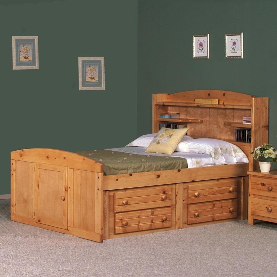 Full Size Captains Bed With Storage Headboard