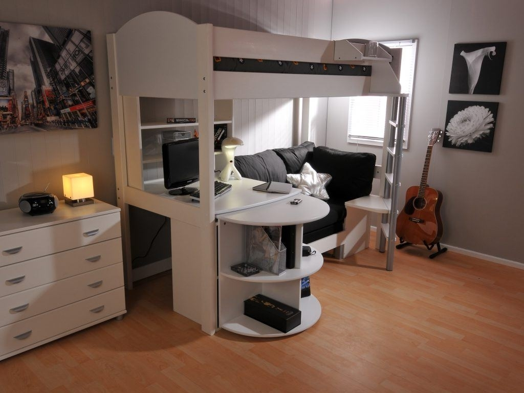 Image of: Full Size Loft Bed with Storage Desk
