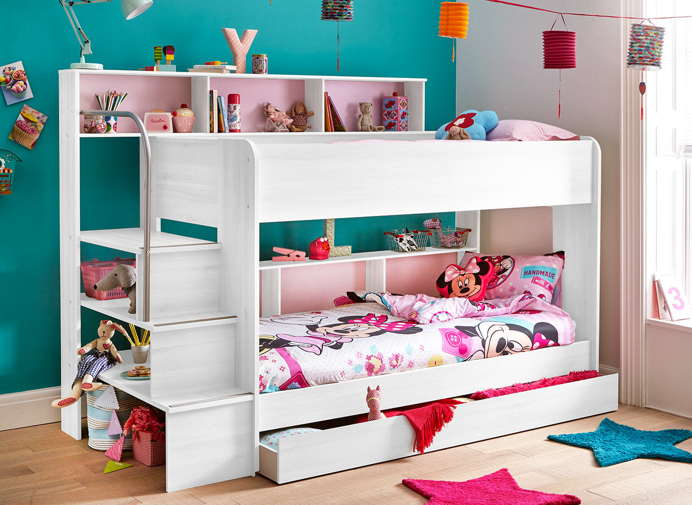 Image of: Girls Storage Bunk Beds