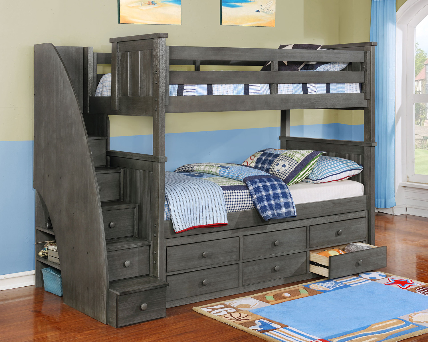 Picture of: Gray Bunk Bed with Storage