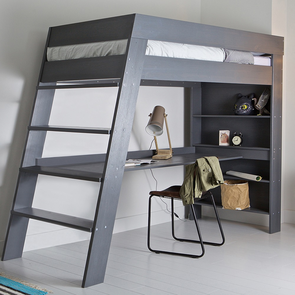 Picture of: Gray Bunk Beds With Storage and Desk